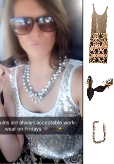 Outfit Idea, Work Look, Sequin Top, Pencil Skirt, Style, Fashion, Trends, Black and Gold, Bostonian Styled (by Katey)
