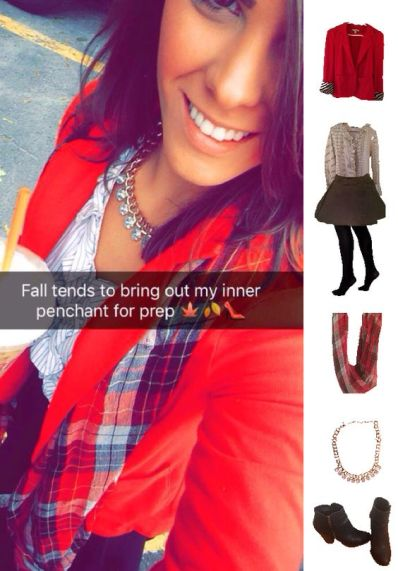 Outfit Idea, Work Look, Trends, Fashion, Style, Preppy, Winter Outfit Idea, Red Blazer, Plaid Scarf, Black Skater Skirt, Bostonian Styled (by Katey)
