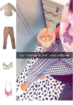 Outfit Idea, Work Look, Chic, Style, Fashion, Trends, Printed Pants, Statement Necklace, Collar Shirt, Bostonian Styled (by Katey)
