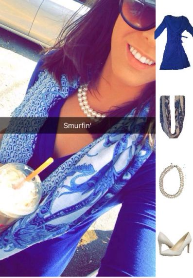 Outfit Idea, Work Look, Trends, Fashion, Style, Winter Outfit Idea, Blue Wrap Dress, Blue and White Scarf, Pearls, White Heels, Bostonian Styled (by Katey)