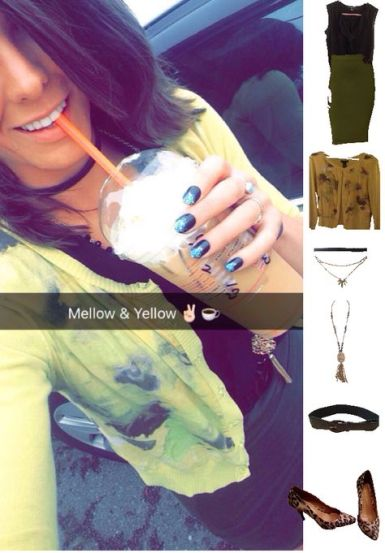 Outfit Idea, Work Look, Trends, Fashion, Style, Winter Outfit Idea, Pattern Mixing, Yellow Cardigan, Floral Print, Leopard Print Heels, Choker, Layered Statement Necklaces, Military Green Pencil Skirt, Bostonian Styled (by Katey)