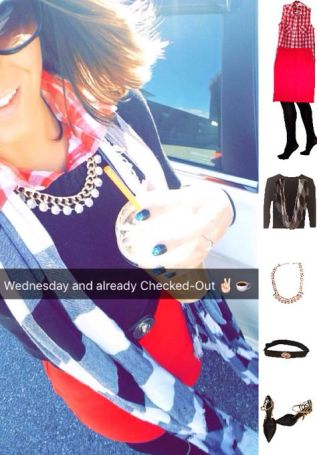 Outfit Idea, Work Look, Trends, Fashion, Style, Winter Outfit Idea, Preppy, Layered Look, Red Pencil Skirt, Buffalo Print Scarf, Bostonian Styled (by Katey)