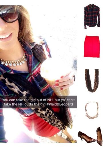Outfit Idea, Work Look, Trends, Fashion, Style, Winter Outfit Idea, Plaid Shirt, Red Pencil Skirt, Leopard Print, Pattern Mixing, Gold Statement Necklace, Bostonian Styled (by Katey)