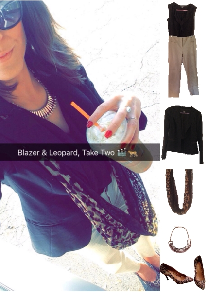 Outfit Idea, Work Look, Trends, Fashion, Style, Winter Outfit Idea, Blazer, Pants, Black and Gold, Statement Necklace, Leopard Print Heels, Leopard Print Scarf, Bostonian Styled (by Katey)