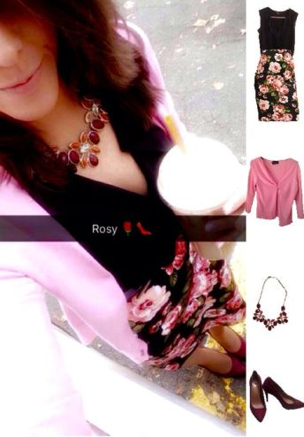 Outfit Idea, Work Look, Trends, Fashion, Style, Winter Outfit Idea, Floral Pencil Skirt, Pink and Burgundy, Burgundy Heels, Statement Necklace, Bostonian Styled (by Katey)