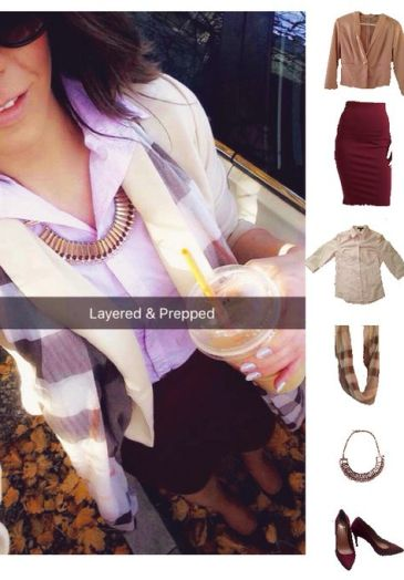 Outfit Idea, Work Look, Trends, Fashion, Style, Burgundy Pencil Skirt, Beige Blazer, Collar Shirt, Burgundy Heels, Plaid Scarf, Winter Outfit Idea, Bostonian Styled (by Katey)