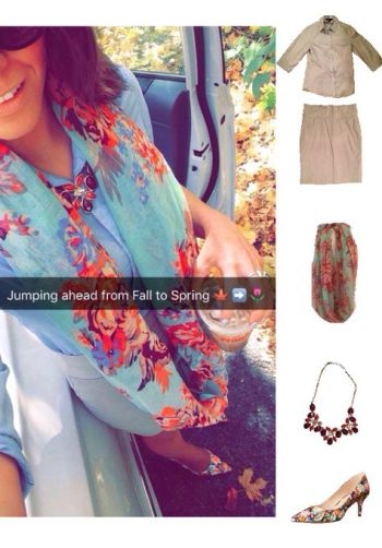 Outfit Idea, Work Look, Trends, Fashion, Style, Floral Scarf, Collar Shirt, Beige Pencil Skirt, Floral Print Heels, Bostonian Styled (by Katey)