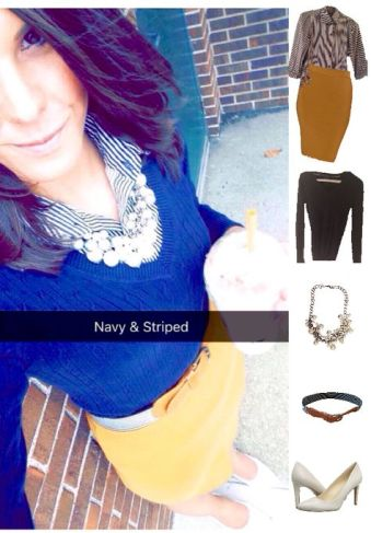 Outfit Idea, Work Look, Trends, Fashion, Style, Winter Outfit Idea, Preppy, Layered Look, Navy Blue Sweater, Collar Shirt, Pearls, Pencil Skirt, Bostonian Styled (by Katey)