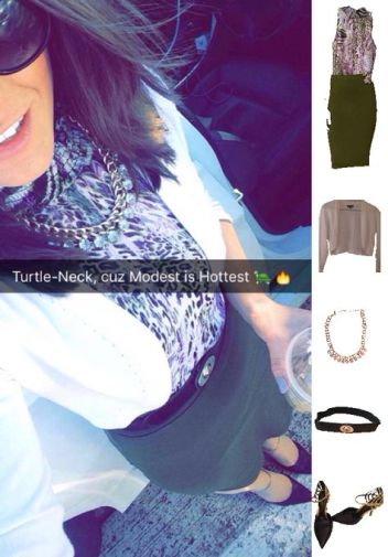 Outfit Idea, Work Look, Trends, Fashion, Style, Winter Outfit Idea, Turtle Neck, Leopard Print, Military Green and Purple, Color Blocking, Pencil Skirt, Bostonian Styled (by Katey)