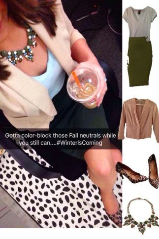 Outfit Idea, Work Look, Trends, Fashion, Style, Neutral Color Blocking, Military Green Pencil Skirt, Military Green and Light Blue, Statement Necklace, Leopard Print Heels, Winter Outfit Idea, Bostonian Styled (by Katey)