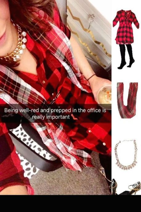 Outfit Idea, Work Look, Trends, Fashion, Style, Winter Outfit Idea, Preppy, Pattern Mixing, Red and Black, Buffalo Print, Plaid, Shirt Dress, Bostonian Styled (by Katey)