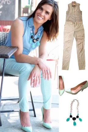 Outfit Idea, Work Look, Trends, Fashion, Style, Mint Green Pattern Pants, Chambray Collar Shirt, Mint Heels, Statement Necklace, Bostonian Styled (by Katey)