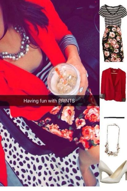 Outfit Idea, Work Look, Trends, Fashion, Style, Winter Outfit Idea, Pattern Mixing, Stripes, Floral Pencil Skirt, Red Blazer, Pearls, Choker, White Heels, Bostonian Styled (by Katey)