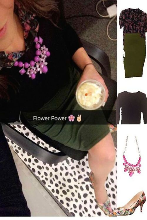 Outfit Idea, Work Look, Trends, Fashion, Style, Winter Outfit Idea, Military Green Pencil Skirt, Purple Statement Necklace, Floral Print Collar Shirt, Floral Print Heels, Layered Look, Black Sweater, Bostonian Styled (by Katey)