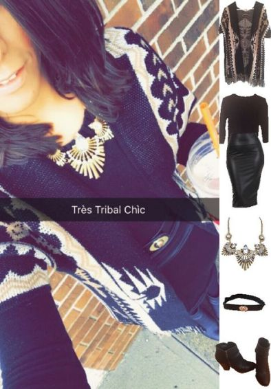 Outfit Idea, Work Look, Trends, Fashion, Style, Winter Outfit Idea, Leather Pencil Skirt, Black and Gold, Chic, Chunky Gold Statement Necklace, Black on Black Look, Aztec Print Sweater