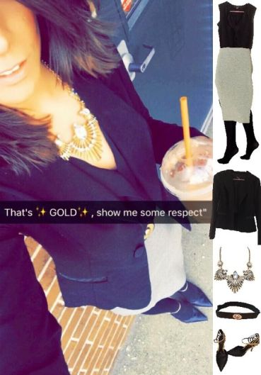 Outfit Idea, Work Look, Trends, Fashion, Style, Winter Outfit Idea, Black Blazer, Grey Pencil Skirt, Gold Statement Necklace, Black and Gold Heels, Chic Look