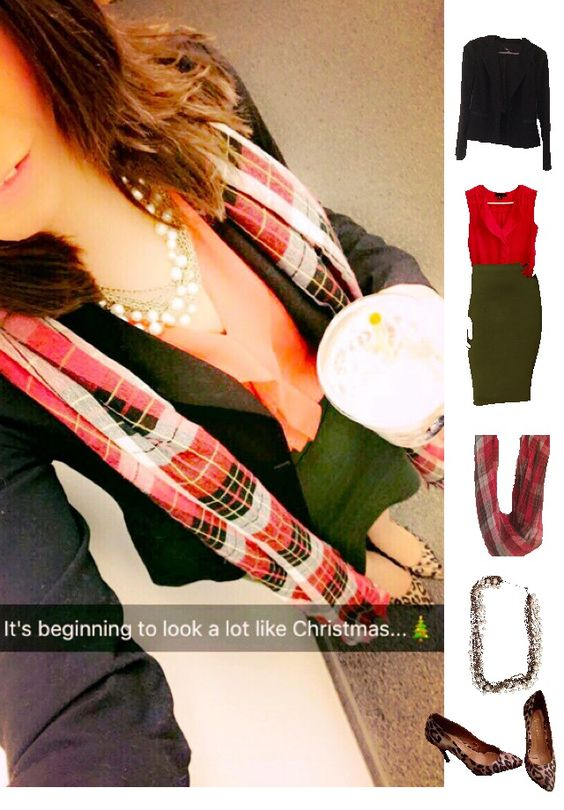 Outfit Idea, Work Look, Trends, Fashion, Style, Winter Outfit Idea, Military Green Pencil Skirt, Red Plaid Scarf, Leopard Print Heels, Black Blazer, Pearls Pattern Mixing, Chic