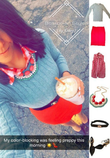 Outfit Idea, Work Look, Trends, Fashion, Style, Winter Outfit Idea, Bostonian Styled (by Katey), Street Style, Chic, Preppy, Layered Look, Color Blocking, Red and Mint, Red Pencil Skirt, Red and White Gingham Collar Shirt, Red Mint And Cream Statement Necklace, Black and Gold Belt, Mint Green Crew Neck Pullover Sweater, Black and Gold Pointed Toe Heels