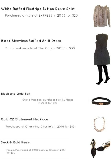 Styled (by Katey), Street Style, Chic, Preppy, Layered Look, Monochromatic Look, Black Sleeveless Ruffled Shift Dress, White and Black Pinstripe Ruffled Button Down Shirt, Gold Statement Necklace, Black and Gold Belt, Black and Gold Pointed Toe Heels