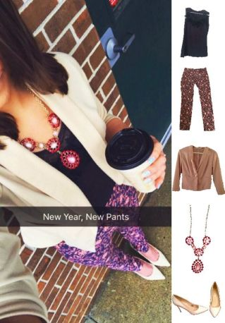 Outfit Idea, Work Look, Trends, Fashion, Style, Winter Outfit Idea, Bostonian Styled (by Katey), Street Style, Chic, Beige Blazer, Pattern Pants, Navy and Pink, Nude Heels, Burgundy and Pink Statement Necklace