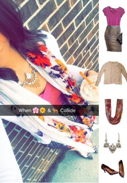 Outfit Idea, Work Look, Trends, Fashion, Style, Winter Outfit Idea, Bostonian Styled (by Katey), Street Style, Chic, Pattern Mixing, White Cardigan, Orchid Purple Top, Leopard Print Pencil Skirt, Floral Print Scarf, Leopard Print Heels, Gold Metal Statement Necklace