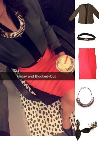 Outfit Idea, Work Look, Trends, Fashion, Style, Winter Outfit Idea, Bostonian Styled (by Katey), Street Style, Chic, Color Blocking, Color Blocked Top, Military Green and Black Top, Coral Pencil Skirt, Black and Gold Belt, Black and Gold Heels, Beaded Gold Statement Necklace