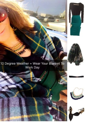 Outfit Idea, Work Look, Trends, Fashion, Style, Winter Outfit Idea, Bostonian Styled (by Katey), Street Style, Chic, Tartan Blanket Scarf, Navy Blue and Green, Navy Blue Pull Over Sweater, Emerald Green Pencil Skirt, Black and Gold Belt, Black and Gold Heels, Beaded Blue and Green Statement Necklace