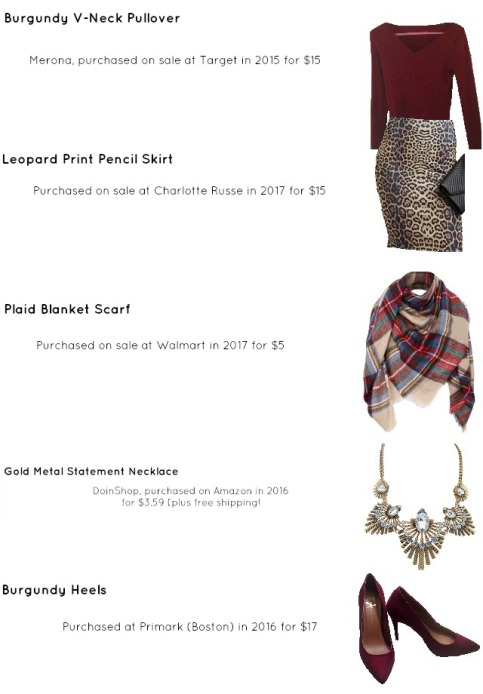 Outfit Idea, Work Look, Trends, Fashion, Style, Winter Outfit Idea, Bostonian Styled (by Katey), Street Style, Chic, Plaid Blanket Scarf, Leopard Print Pencil Skirt, Burgundy V-Neck Sweater, Burgundy Heels, Chunky Gold Metal Statement Necklace