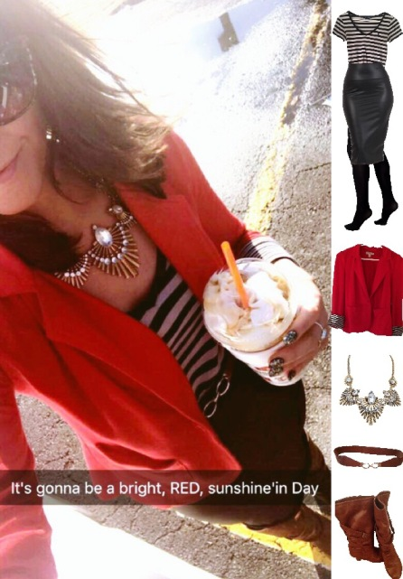 Outfit Idea, Work Look, Trends, Fashion, Style, Winter Outfit Idea, Bostonian Styled (by Katey), Street Style, Chic, Preppy, Red Blazer, Black Leather Pencil Skirt, Black and White Striped V-Neck Shirt, Burnt Brown and Gold Belt, Burnt Brown High Heel Boots, Chunky Gold Metal Statement Necklace