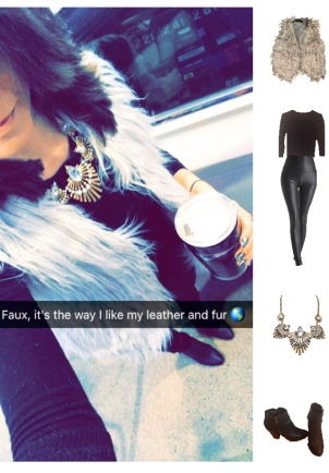 Outfit Idea, Work Look, Trends, Fashion, Style, Winter Outfit Idea, Bostonian Styled (by Katey), Street Style, Chic, Grey Faux Fur Vest, Black Faux Leather Leggings, Black Crew Neck Pullover, Black Booties, Chunky Gold Metal Statement Necklace, Going Out Look