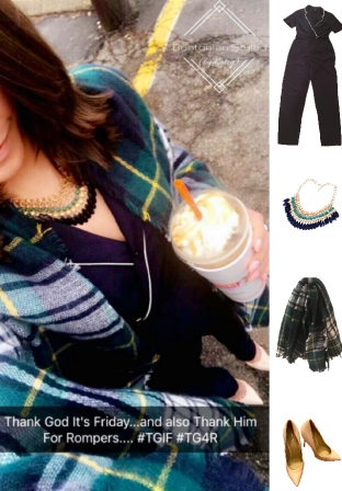 Outfit Idea, Work Look, Trends, Fashion, Style, Winter Outfit Idea, Bostonian Styled (by Katey), Street Style, Chic, Navy and White Romper, Navy and Green Tartan Print Blanket Scarf, Nude Heels, Statement Necklaces