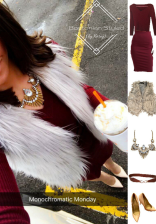 Outfit Idea, Work Look, Trends, Fashion, Style, Winter Outfit Idea, Bostonian Styled (by Katey), Street Style, Monochromatic, Olivia Palermo, Burgundy Pencil Skirt, Burgundy V-Neck Pullover Sweater Navy, Grey Faux Fur Vest, Nude Heels, Chunky Gold Metal Statement Necklace, Burnt Brown Belt