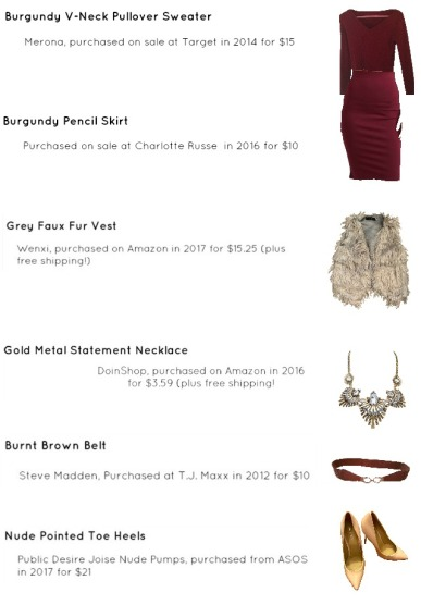 Outfit Idea, Work Look, Trends, Fashion, Style, Winter Outfit Idea, Bostonian Styled (by Katey), Street Style, Monochromatic, Olivia Palermo, Burgundy Pencil Skirt, Burgundy V-Neck Pullover Sweater Navy, Grey Faux Fur Vest, Nude Heels, Chunky Gold Metal Statement Necklace, Burnt Brown Belts