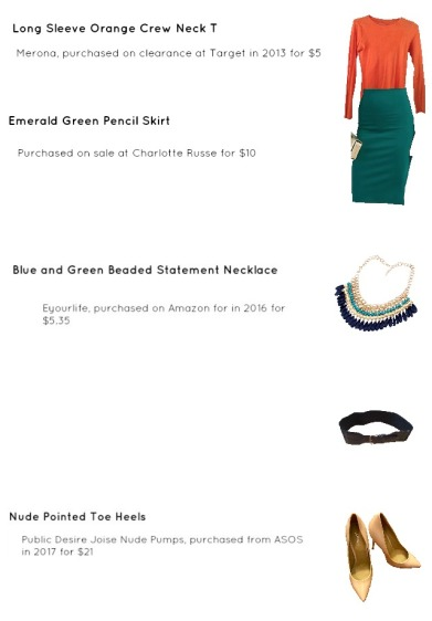 Outfit Idea, Work Look, Trends, Fashion, Style, Winter Outfit Idea, Bostonian Styled (by Katey), Street Style, Color-Blocked, Long Sleeve Orange Crew Neck T, Emerald Green Pencil Skirt, Nude Pointed Toe Heels, Green and Blue Beaded Statement Necklace, Chunky Navy Blue Belt