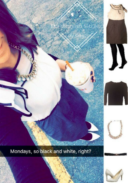 Outfit Idea, Work Look, Trends, Fashion, Style, Winter Outfit Idea, Bostonian Styled (by Katey), Street Style, Monochromatic Look, Black White and Grey Shift Dress, Black and Gold Belt, Black Opaque Tights, White Pointed Toe Heels, Gold Statement Necklace