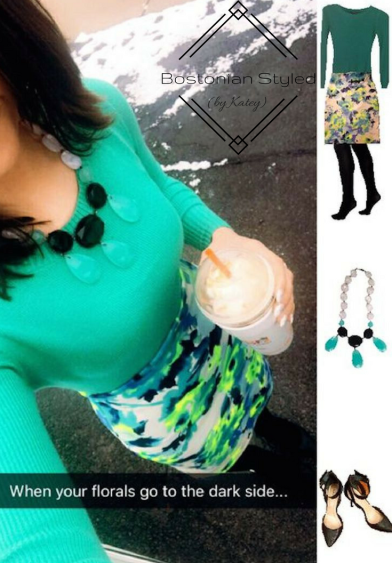 Outfit Idea, Work Look, Trends, Fashion, Style, Winter Outfit Idea, Bostonian Styled (by Katey), Street Style, Chic, White and Neon Floral Pencil Skirt, Mint Green Crew Neck Pullover Sweater, Black Opaque Tights, Mint Black And White Statement Necklace, Strappy Black Pointed Toe Heels
