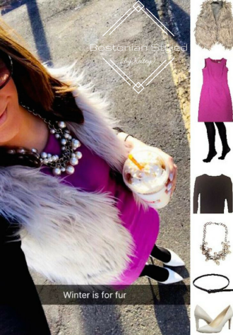 Outfit Idea, Work Look, Trends, Fashion, Style, Winter Outfit Idea, Bostonian Styled (by Katey), Street Style, Chic, Preppy, Layered Look, Grey Faux Fur Vest, Monochromatic Look, Orchid Purple Shift Dress, Black Crew Neck Pullover Sweater, Chunky Pearl Statement Necklace, Opaque Black Tights, Skinny Black Belt, White Pointed Toe Heels