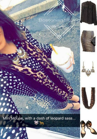 Outfit Idea, Work Look, Trends, Fashion, Style, Winter Outfit Idea, Bostonian Styled (by Katey), Street Style, Chic, Pattern Mixing, Black and White Polka Dot Collar Shirt, Leopard Print Pencil Skirt, Leopard Print Scarf, Chunky Gold Metal Statement Necklace, Black Strappy Pointed Toe Heels