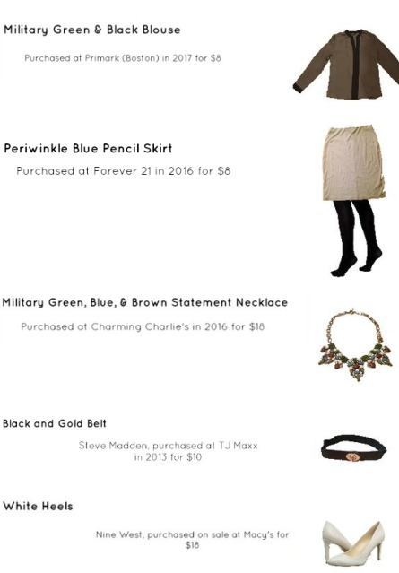 Outfit Idea, Work Look, Trends, Fashion, Style, Winter Outfit Idea, Bostonian Styled (by Katey), Street Style, Chic, Monochromatic Look, Color-Blocked Look, Military Green and Black Color-Blocked Blouse, Periwinkle Blue Pencil Skirt, Opaque Black Tights, White Pointed Toe Heels, Neutral Colored Statement Necklace, Black and Gold Belt