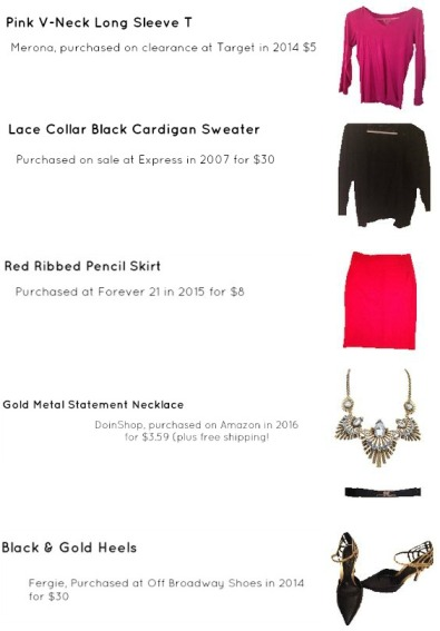 Outfit Idea, Work Look, Trends, Fashion, Style, Winter Outfit Idea, Bostonian Styled (by Katey), Street Style, Chic, Valentine's Day Outfit Idea, Red and Pink Color-Blocked Look, Red Pencil Skirt, Pink V-Neck Long Sleeve T, Black and Gold Heels, Black and Gold Belt, Chunky Gold Statement Necklace