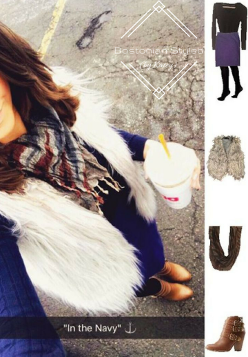 Outfit Idea, Work Look, Trends, Fashion, Style, Winter Outfit Idea, Bostonian Styled (by Katey), Street Style, Chic, Monochromatic Look, Navy Blue V-Neck Pullover Sweater, Navy Pencil Skirt, Fur Vest, Black Opaque Tights, Burnt Brown Booties, Navy Grey and Burgundy Print Scarf