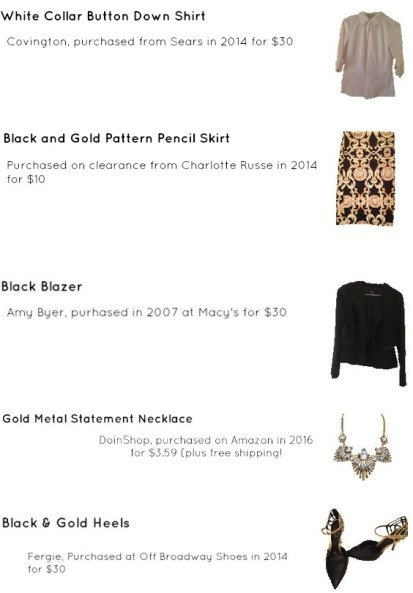 Outfit Idea, Work Look, Trends, Fashion, Style, Spring Outfit Idea, Winter Outfit Idea, Bostonian Styled (by Katey), Street Style, Chic, White Collar Shirt, Black and Gold Pattern Pencil Skirt, Black Blazer, Chunky Gold Metal Statement Necklace, Black and Gold Pointed Toe Heels