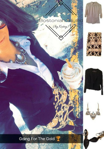 Street Style, Fashion, Style, Trends, Chic, Outfit Idea, Work Look, Spring Outfit Idea, Winter Outfit Idea, Bostonian Styled (by Katey), Collar Shirt, Black and Gold Pattern Pencil Skirt, Black Blazer, Chunky Gold Metal Statement Necklace, Black and Gold Pointed Toe Heels