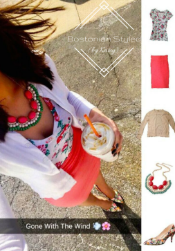 Street Style, Fashion, Style, Trends, Chic, Outfit Idea, Work Look, Spring Outfit Idea, Winter Outfit Idea, Bostonian Styled (by Katey), White Floral Print V-Neck T, Coral Pencil Skirt, White Cardigan Sweater, Floral Print Pointed Toe Heels, Mint Red and Cream Statement Necklace
