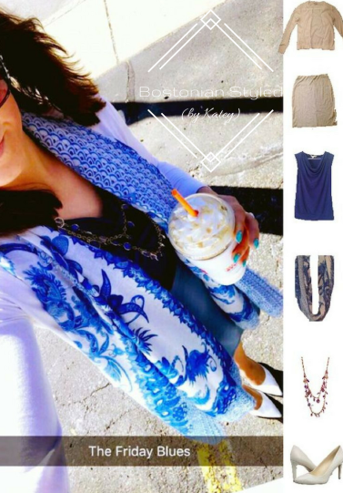 Street Style, Fashion, Style, Trends, Chic, Outfit Idea, Work Look, Spring Outfit Idea, Winter Outfit Idea, Bostonian Styled (by Katey), White Cardigan, Periwinkle Blue Pencil Skirt, Royal Blue Cowl Neck Tank, White and Blue Paisley Print Scarf, Blue and Gold Statement Necklace, White Pointed-Toe Heels