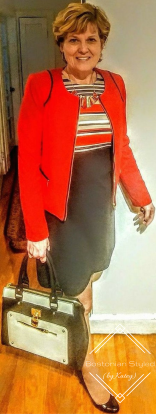 Outfit Idea, Work Look, Trends, Fashion, Style, Winter Outfit Idea, Bostonian Styled (by Katey), Street Style, Chic, Interview Outfit Idea, Color-Blocked Red Black White And Beige Sheath Dress, Red Blazer, Black High Heels, Red And Gold Statement Necklace