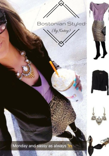 Street Style, Fashion, Style, Trends, Chic, Outfit Idea, Work Look, Spring Outfit Idea, Winter Outfit Idea, Bostonian Styled (by Katey), Leopard Print Pencil Skirt, Black Blazer, Lavender Satin Blouse, Gold Statement Necklace