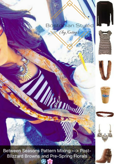 Street Style, Fashion, Style, Trends, Chic, Outfit Idea, Work Look, Spring Outfit Idea, Winter Outfit Idea, Bostonian Styled (by Katey), Spring Fashion, Winter Fashion, Look of the Day, Style Blogger, Outfit Inspiration, Dunkin Donuts, Snap Chat, Pattern Mixing, Stripes, Floral Print, Black and Beige Stripe Dress, Floral Print Scarf, Black Cardigan, Brown Heel Booties, Gold Metal Statement Necklace