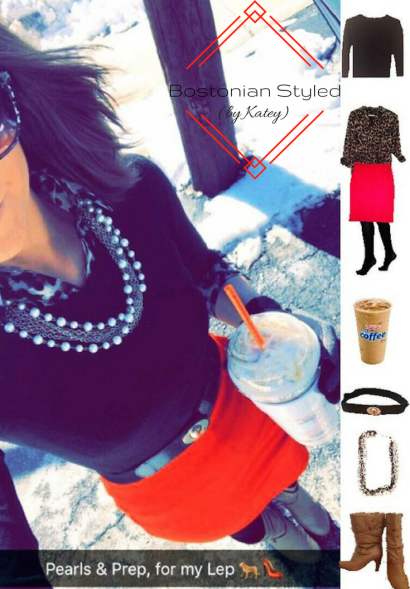 Street Style, Fashion, Style, Trends, Chic, Outfit Idea, Work Look, Spring Outfit Idea, Winter Outfit Idea, Bostonian Styled (by Katey), Spring Fashion, Winter Fashion, Look of the Day, Style Blogger, Outfit Inspiration, Dunkin Donuts, Snap Chat, Leopard Print, Collar Shirt, Red Pencil Skirt, Black Cardigan, High Heel Boots, Pearls, Statement Necklace, Layered Look, Preppy