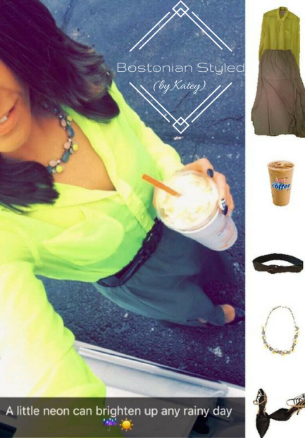 Street Style, Fashion, Style, Trends, Chic, Outfit Idea, Work Look, Spring Outfit Idea, Winter Outfit Idea, Bostonian Styled (by Katey), Spring Fashion, Winter Fashion, OOTD, LOTD, What I Wore Today, WIWT, Look of the Day, Style Blogger, Outfit Inspiration, Dunkin Donuts, Snap Chat, Color-Blocking, Statement Necklace, Military Green, Neon Yellow, Maxi Skirt, Black and Gold Heels